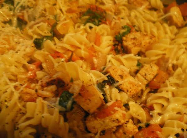 Homemade Chicken And Apple Smoked Sausages With Pasta, Spinach, Peppers, Onion, And Garlic