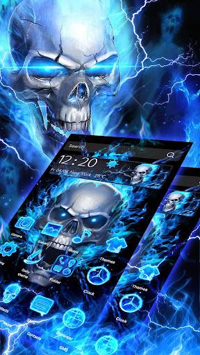 Blue Fire Skull Theme Launcher 1.1.15 screenshots 3