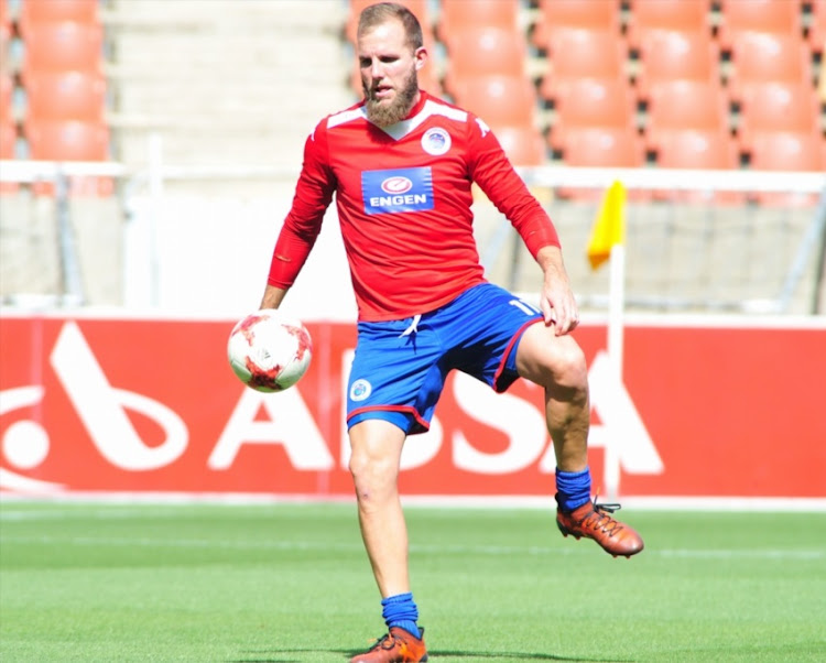 Jeremy Brockie of Supersport United before the Absa Premiership match between Baroka FC and Supersport United at Peter Mokaba Stadium on December 17, 2017 in Polokwane.