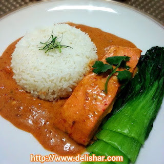 Poached Salmon in Thai Red Curry.