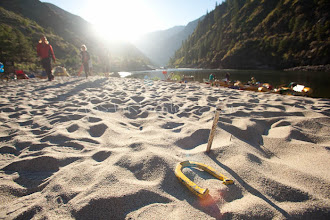 Photo: Playing horseshoes while on a whitewater rafting trip on the Main Salmon River in central Idaho.