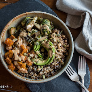 Sweet Potato Brussels Sprouts Wild Rice Bowl {vegan}.