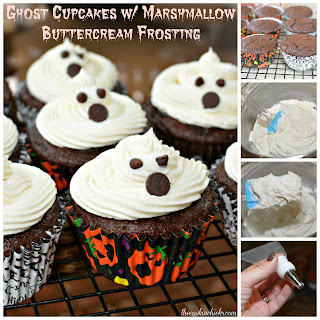 Ghost Cupcakes w/ Marshmallow Buttercream Frosting.