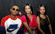 Bonang Matheba with her cousin  Tebogo 'Pinky Girl' Mekgwe and assistant Sefiso Hlongwane.