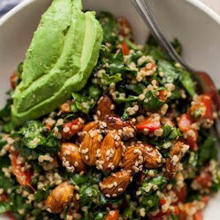 Sesame-Almond + Avocado Spinach Salad.