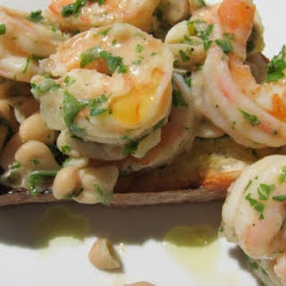 Grilled Garlic Bread with White Bean Shrimp Scampi.