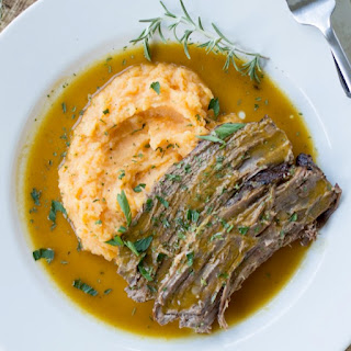 Slow Cooker Paleo Pot Roast with Mashed Sweet Potatoes