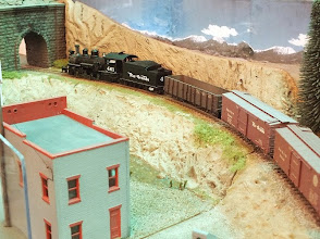 "Photo: 011 2-8-2 number 461 heads into the Colorado mountains on a freight consist on Pater Martin's ""work in progress"" DCC fitted HOn3 layout ."