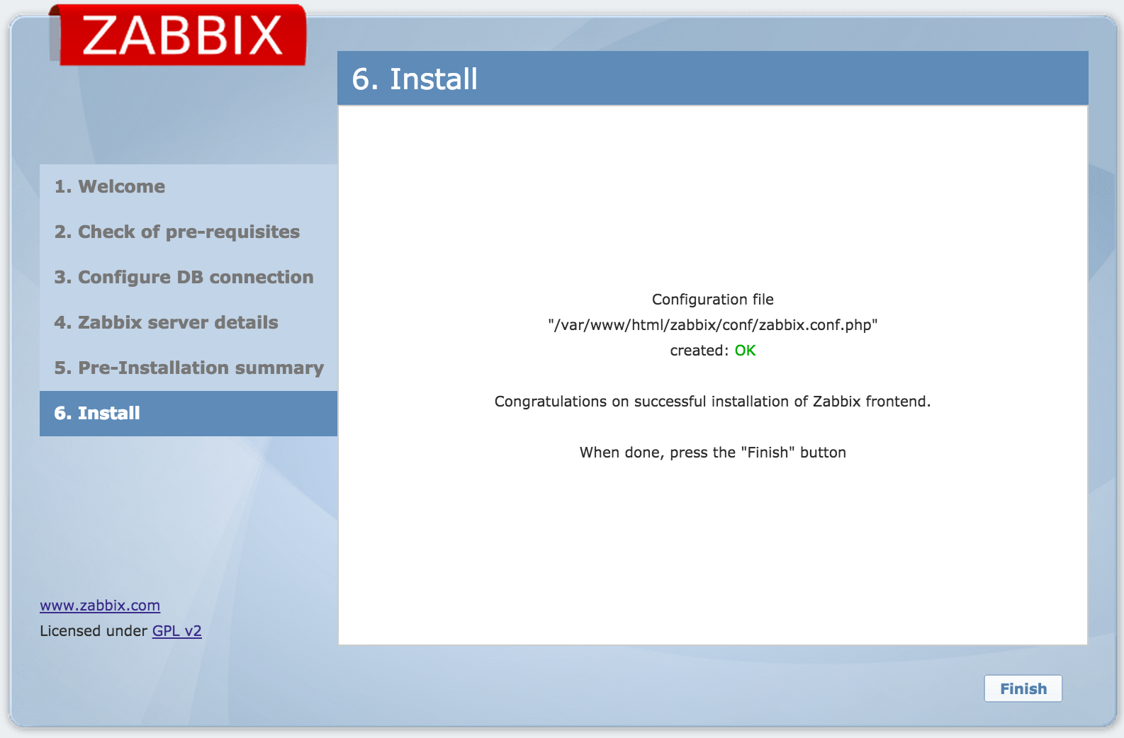 Zabbix Web Interface Installation 9