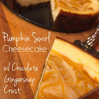 Pumpkin Swirl Cheesecake with Chocolate Gingersnap Crust.