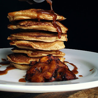 Tostone Stuffed Pancakes with a Chocolate Peanut Butter Syrup