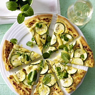 Zucchini Pizza with Watercress and Mint Salad