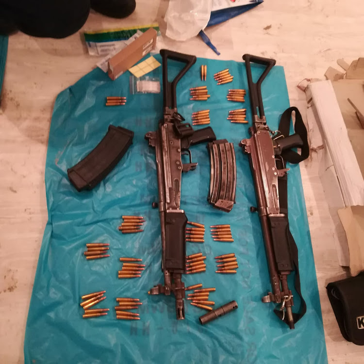 The rifles and ammunition recovered by the South African Police Services.