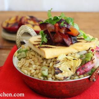 Barley Paella with Grilled Tofu & Fresh Plum Salsa