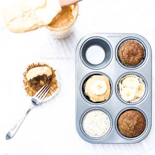 """Breakfast Banana Oatmeal Cupcakes with Peanut Butter """"Frosting""""."""