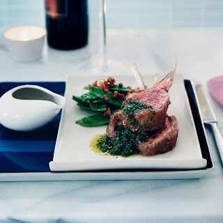 Oven-Roasted Lamb Chops with Mint Chimichurri.