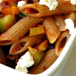 Penne With Goat Cheese and Zucchini.