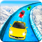 Frozen Water Slide Car Race