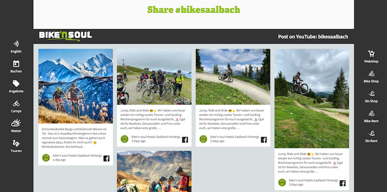 Screenshot of bike'n soul's social media wall. The image shows photos from guests biking in the Saalbach area.