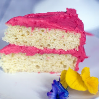 Spring Time Lemon Cake with Raspberry Frosting.