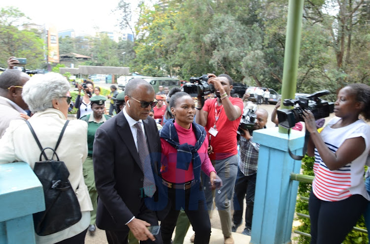 Detained Dutch tycoon Tob Cohen's widow arrives at Chiromo mortuary on September 18, 2019./DOUGLAS OKIDDY