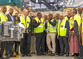 President Cyril Ramaphosa, with other dignitaries, tours the Volvo Trucks assembly plant in Durban. Picture: UD TRUCKS