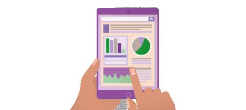 Mains tenant une tablette qui affiche des données d'analyse