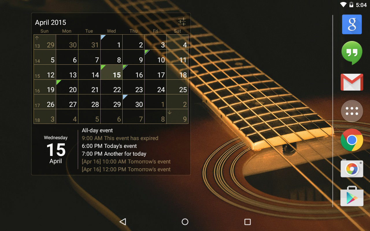 Calendar Widget Month + Agenda- screenshot