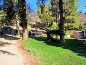 Photo: Trail users linger around Garcia Trail trailhead next to the fire station