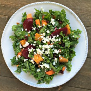 Chopped Winter Salad with Butternut Squash, Kale and Lemon Honey Dressing