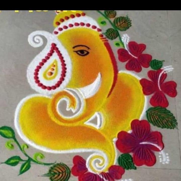 Yellowish Rangoli Design For Ganesh Chaturthi