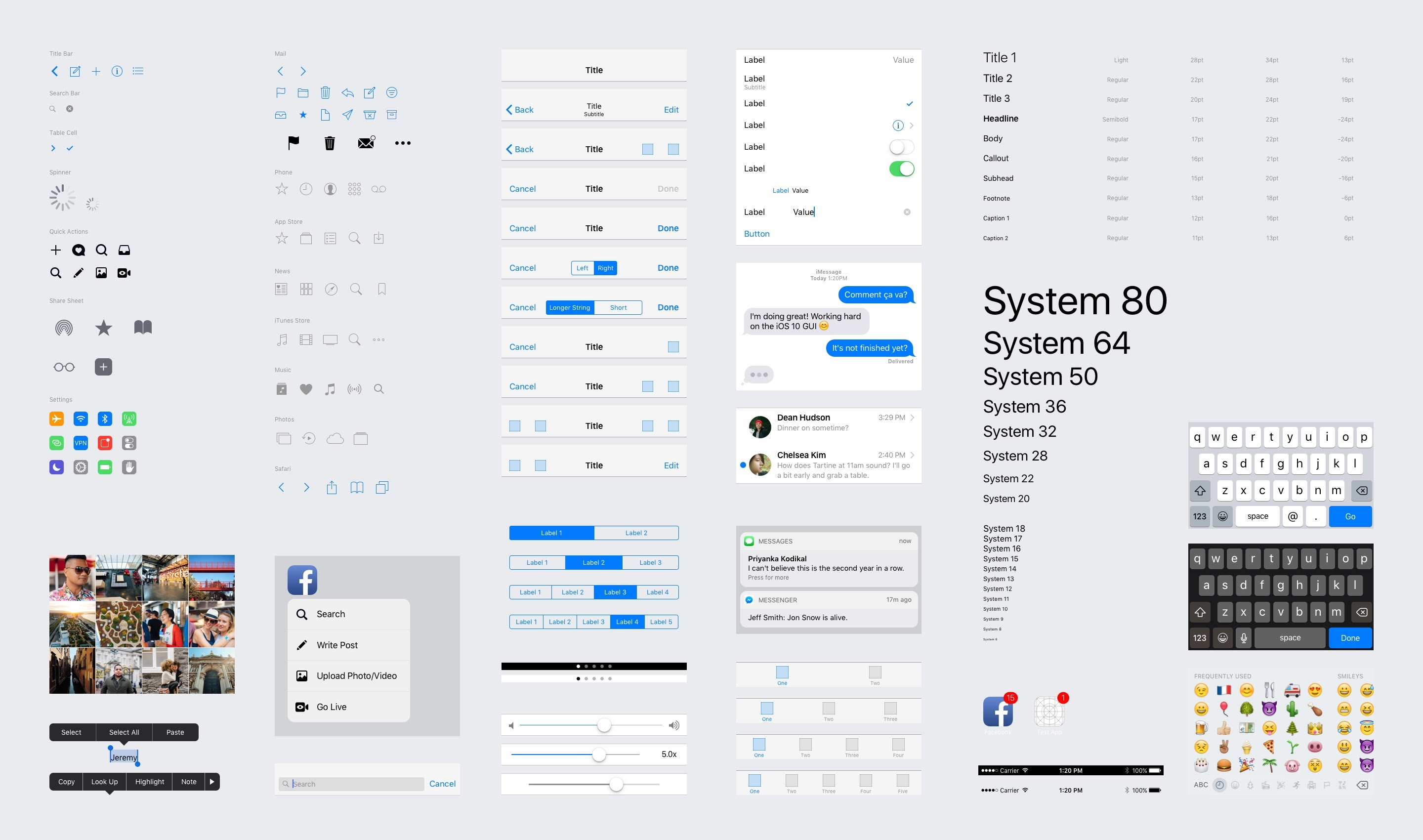 iOS 10 UI Kit