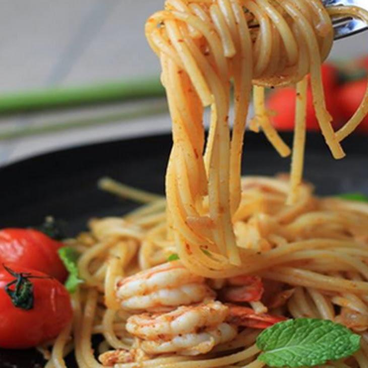 Tom Yum Pasta with King Prawns Recipe