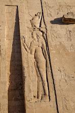 Photo: Horus temple, Edfu - first pylon, Isis?
