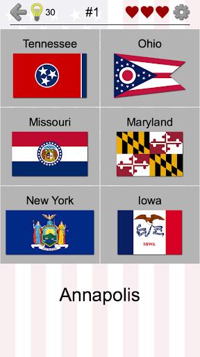 50 US States Map, Capitals & Flags - American Quiz Screenshot