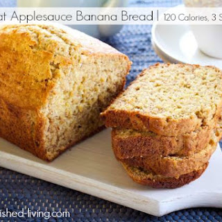 Easy Healthy Low Fat Applesauce Banana Bread.