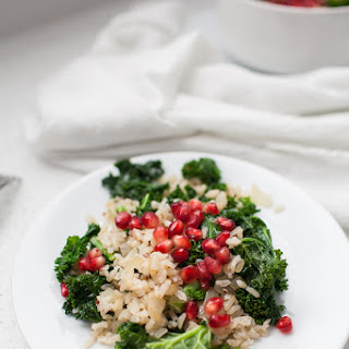 Spring Pomegranate Brown Rice Kale Salad.