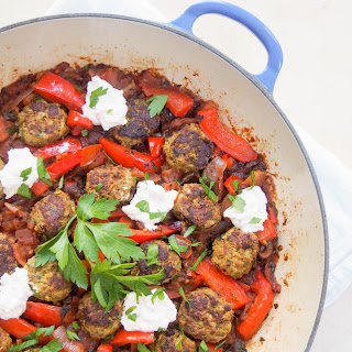 Kofte-style lamb meatballs in a tomato-pepper sauce #SundaySupper