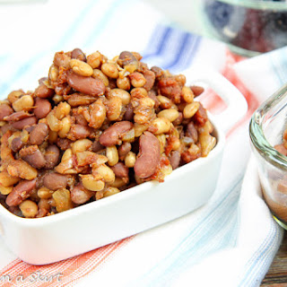 Smoky & Sweet Vegetarian Crock Pot Baked Beans