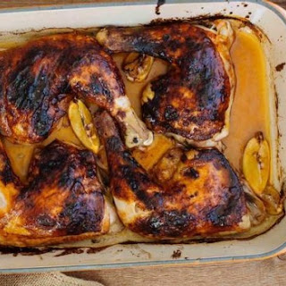Roasted chicken Marylands with chilli and honey.