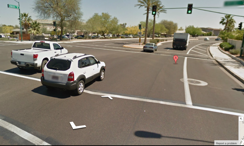 Photo: Though it ought to be self-evident; there is no bike lane here (the hash stripes should be a give-away)... Warner Rd eastbound at 51st St, Phoenix. The shoulder ends just around the bend approaching I-10.