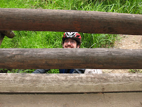 Photo: Day 7: Jamey went under the bridge to take pictures, but forgot to remove his helmet.