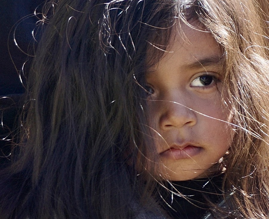 Watching and Waiting by Barbara Brock - Babies & Children Children Candids ( beauty in youth, sad child, big eyes, sadness, loneliness, long hair, young girl, lonely child, hispanic child, beautiful child,  )