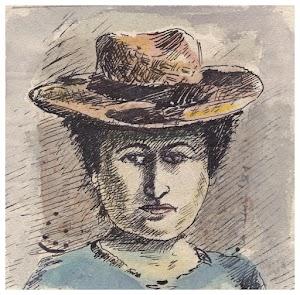 Porträtzeichnung von Rosa Luxemburg.