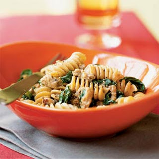 Whole Wheat Blend Rotini with Spicy Turkey Sausage and Mustard Greens.