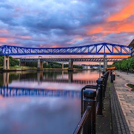 Sunset over the Tyne by Davey T - City,  Street & Park  Historic Districts ( tynside, quayside, sunset, reflections, gateshead, newcastle, north tyneside, bridges )