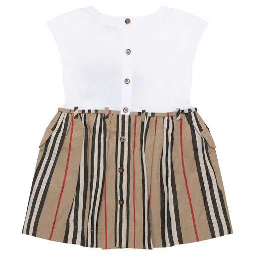 Thumbnail images of Burberry White & Striped Dress