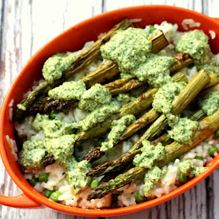 Summer Pea & Asparagus Baked Risotto