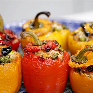Roasted Bell Peppers with Vegetable Rice Stuffing.
