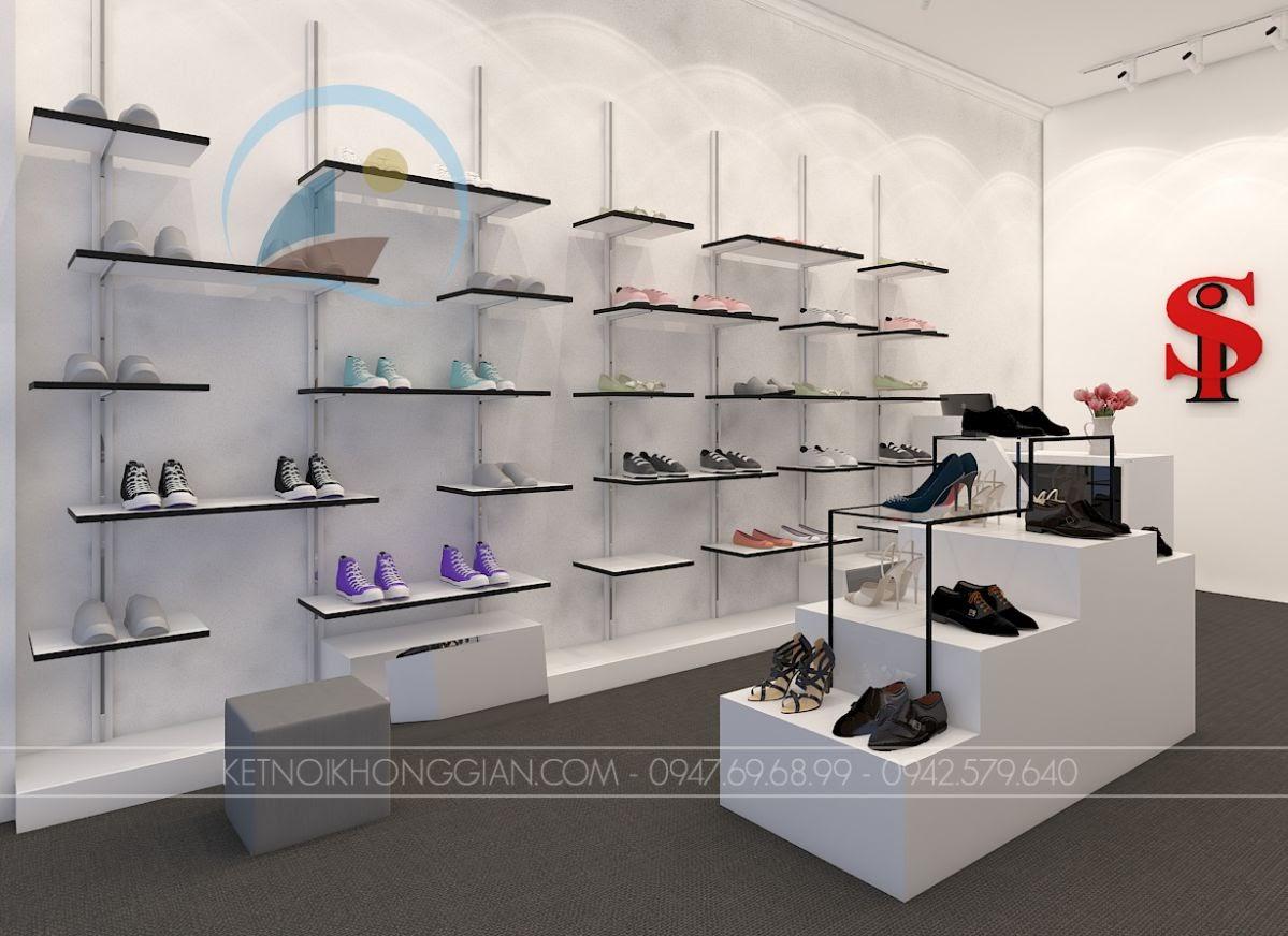 thiết kế shop giày dép 18m2